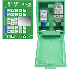 Emergency wall box with eye wash bottles