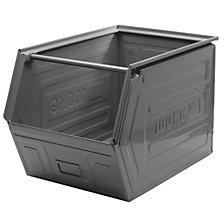 Open fronted storage bin, sheet steel, stackable