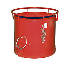 Round container, bottom emptying