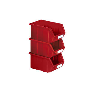 Open fronted storage bin made of polypropylene