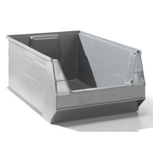 Open fronted storage bin made of recycled PE