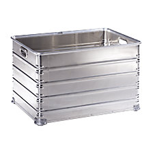 Transport and stacking containers made of aluminium