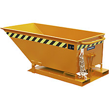 Tilting skip with tilting mechanism