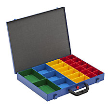 Small parts case with insert boxes