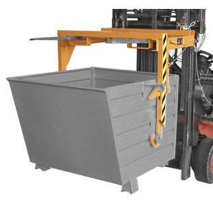 Forklift support bar for tilting skips and stacking containers