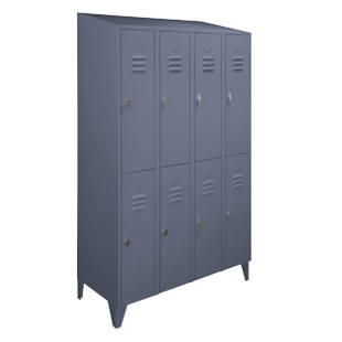 Steel cabinet with sloped roof, compartments divided horizontally