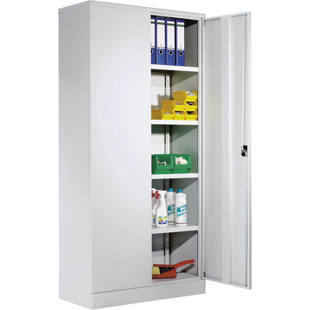 Universal cupboard with hinged doors and 4 shelves