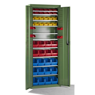 Storage cabinets with open-fronted storage bins