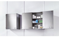 Cleanroom wall mounted cupboard made of stainless steel