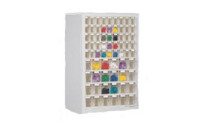 Wall mounted cupboard for visual storage containers