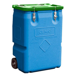 Hazardous materials collection container with 2 wheels