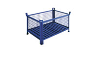 Box pallet with sheet steel base