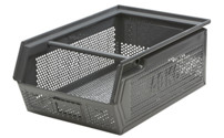 Open fronted storage bin made of perforated sheet steel