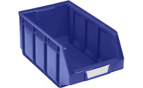 Open fronted storage bin made of polyethylene