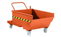 Mobile tilting skip with tilting mechanism
