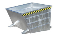 Tilting skip, with low front edge