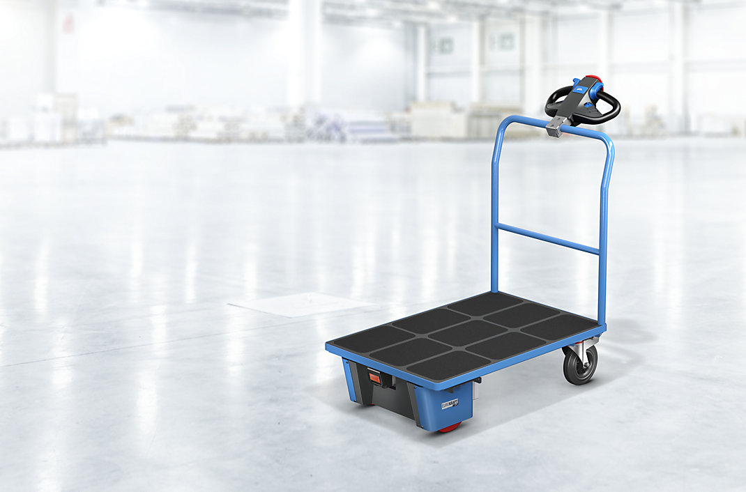 Platform trolley with integrated electric drive