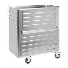 Aluminium container truck, drop gate on side panel