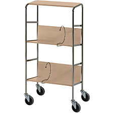 File trolley with top shelf, chrome plated