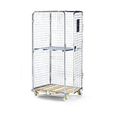 Security steel container with wooden dolly