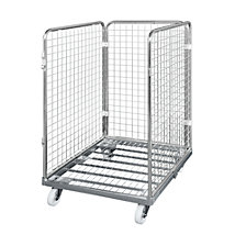 Wire mesh container with steel dolly