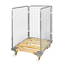Wire mesh container with wooden dolly