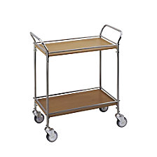 Serving trolley in stainless steel / wood finish