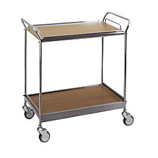 Serving trolley with 2 shelves, removable tray
