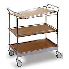 Serving trolley with 3 shelves, removable tray