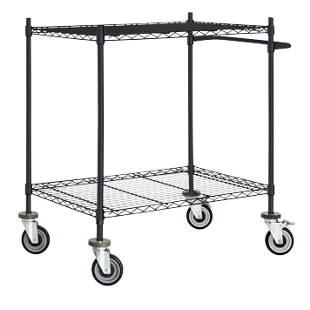 Wire mesh table trolley, black