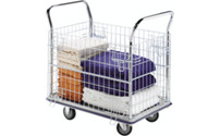 Mesh trolley, zinc plated mesh sides