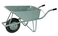 Wheelbarrow with steel bed