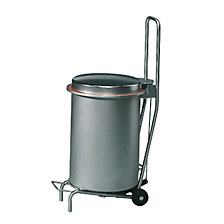 BUGGY stainless steel waste caddy with wheeled base