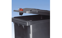 Large plastic waste bin with gravity lock