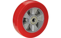 Polyurethane tyre, red, on aluminium rim