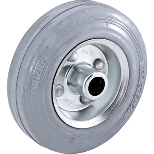 Solid rubber tyre, non-marking, on sheet steel rim