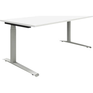 P12 - Desk, white/aluminium silver, electric height adjustment