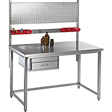 table, rods, perforated panel, drawer
