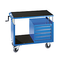 Assembly trolley, height adjustable