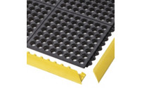 Plug-in floor tile system, flame resistant