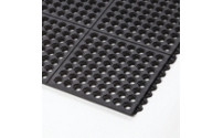 Plug-in floor tile system, natural rubber, perforated
