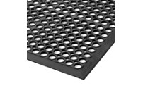 Workstation mat, perforated