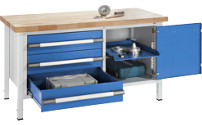 Workbench, height adjustable