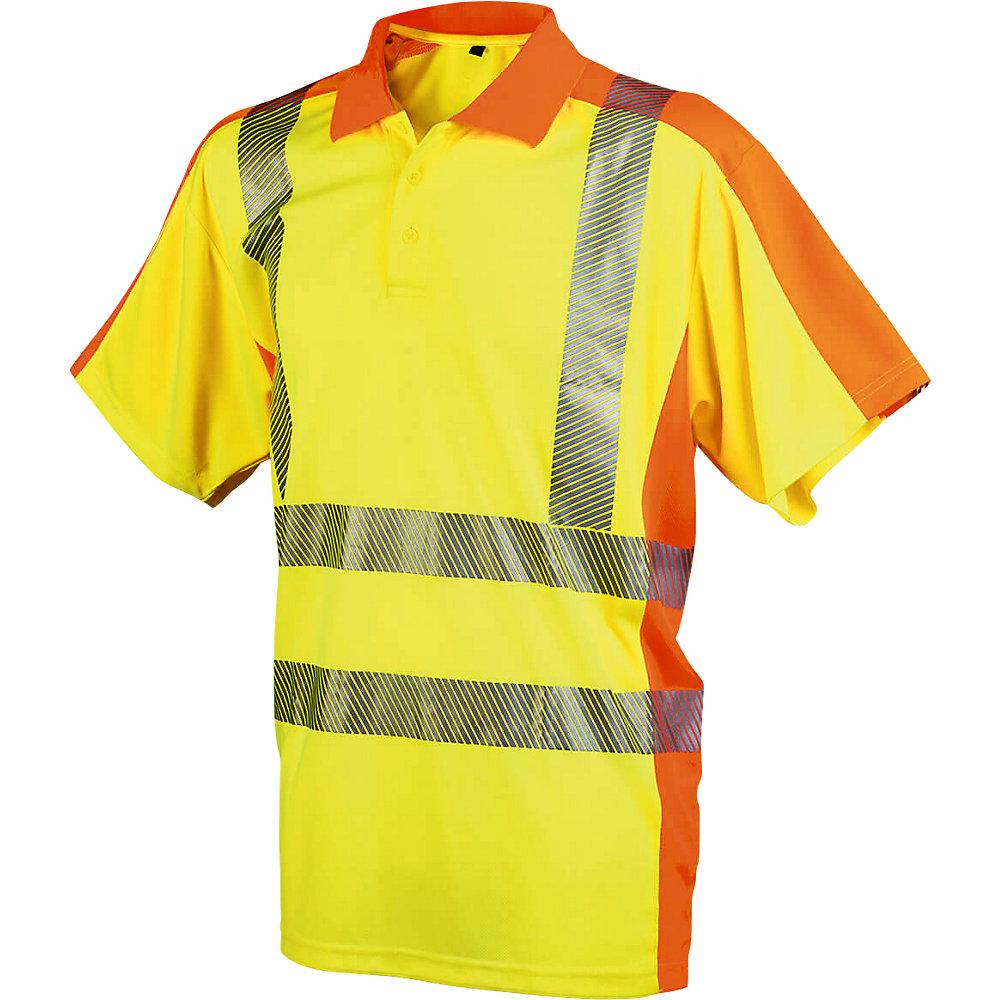 Warnschutz-Poloshirt, mit 3-Knopf-Leiste, Größe L. - Warnschutz-Poloshirt, mit 3-Knopf-Leiste, Größe L.