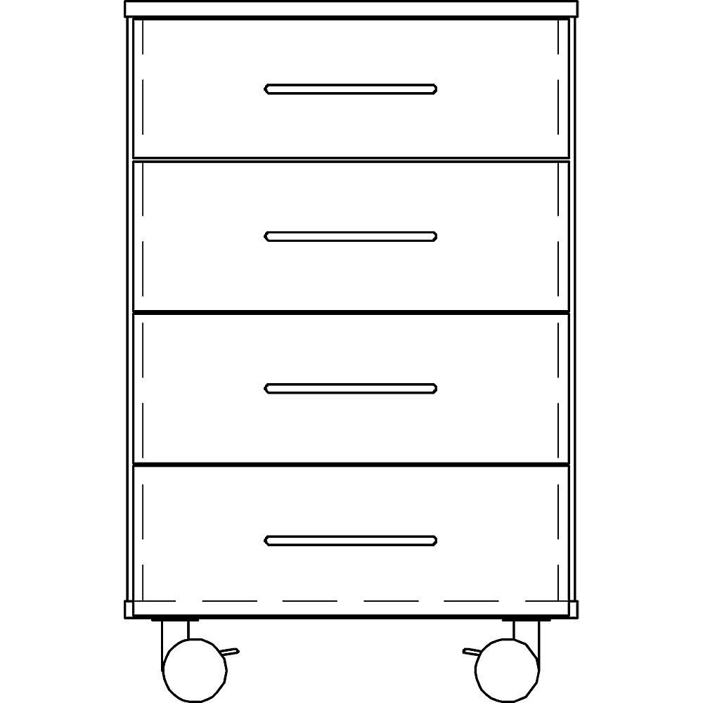 Labor-Unterschrank, hoch, 4 Schubladen, Breite 536 mm. - Labor-Unterschrank, hoch, 4 Schubladen, Breite 536 mm.
