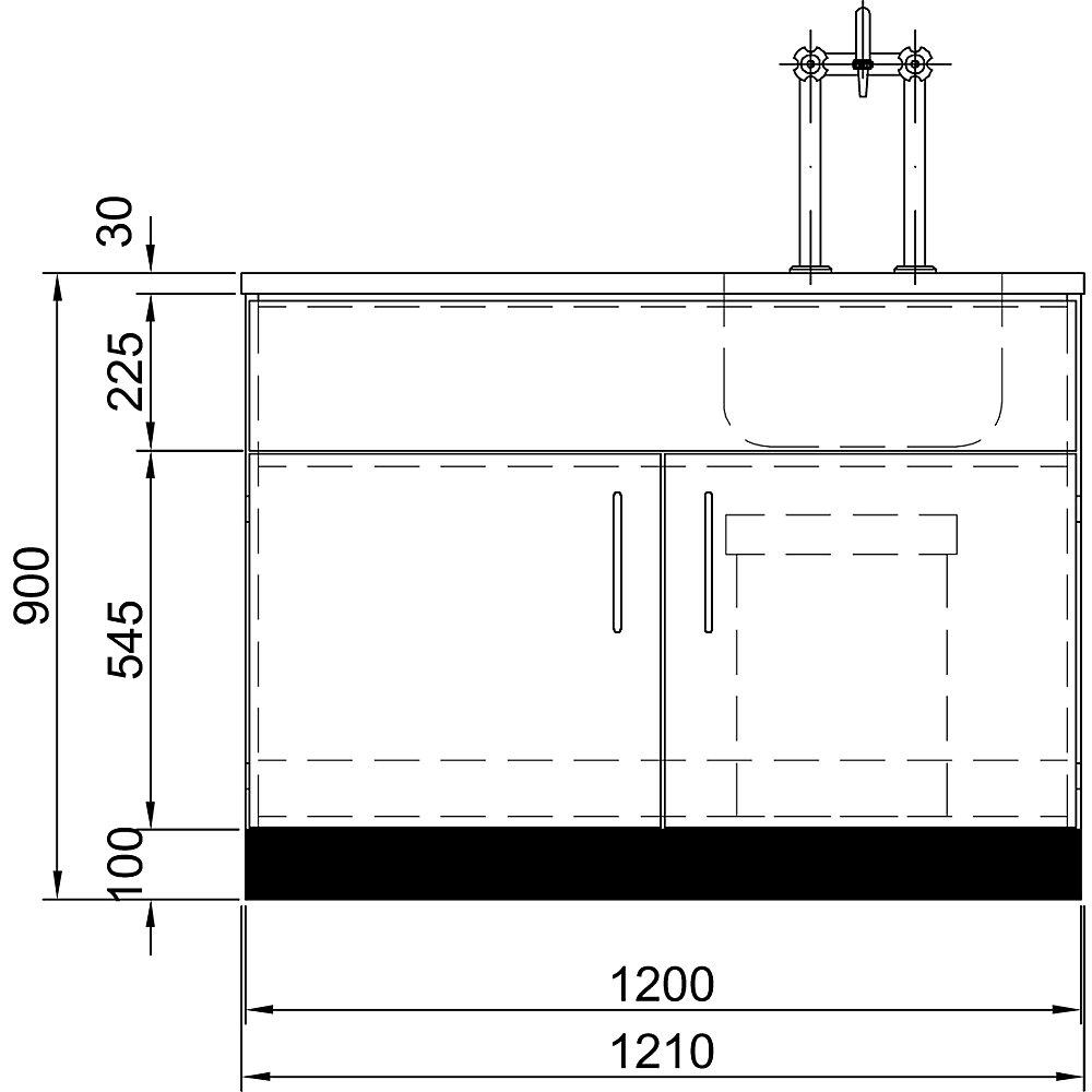 Laborspüle, Tischplatte / Becken Edelstahl, BxTxH 910 x 750 x 900 / 1285 mm. - Laborspüle, Tischplatte / Becken Edelstahl, BxTxH 910 x 750 x 900 / 1285 mm.