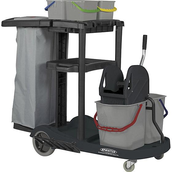 Servicewagen, mit 4-Eimersystem, Mopp-Presse, Mülltrennung, gummierte Räder.