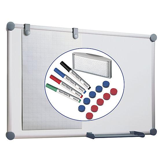 Whiteboard, Komplett-Set - Stahlblech, beschichtet, BxH 1200 x 900 mm.