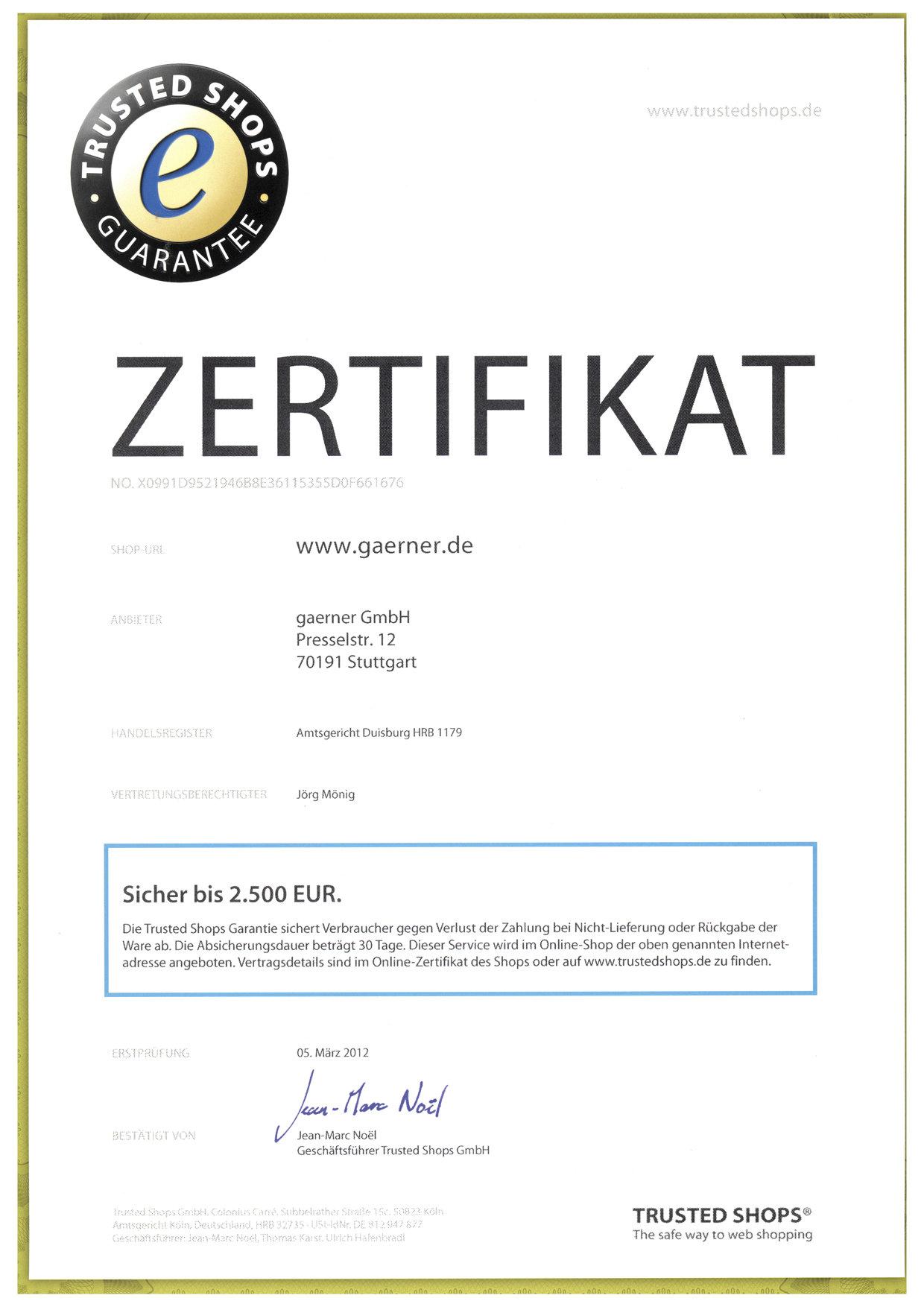 Zertifikate Gaerner Deutschland